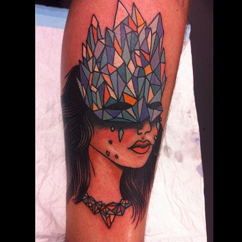 Fantastic Venetian Mask Tattoo On Calf