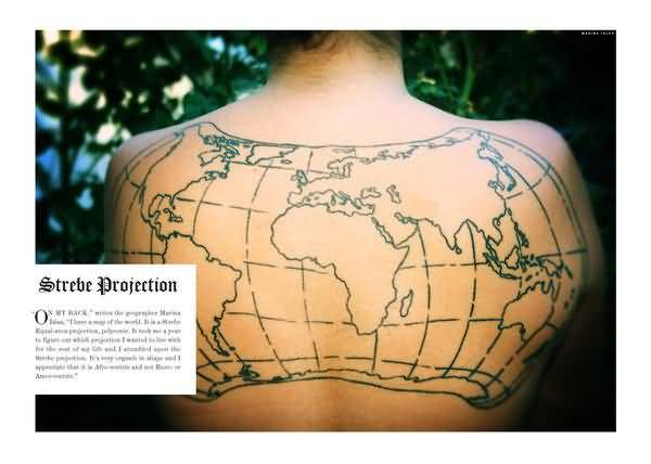 Fantastic world map tattoo on back tattooshunter fantastic world map tattoo on back gumiabroncs Image collections