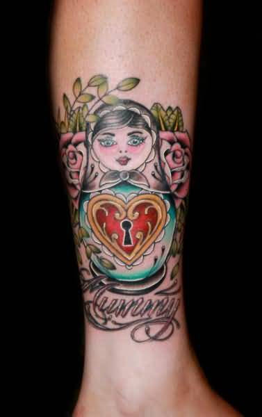 Heart Lock And Matryoshka Tattoo On Leg