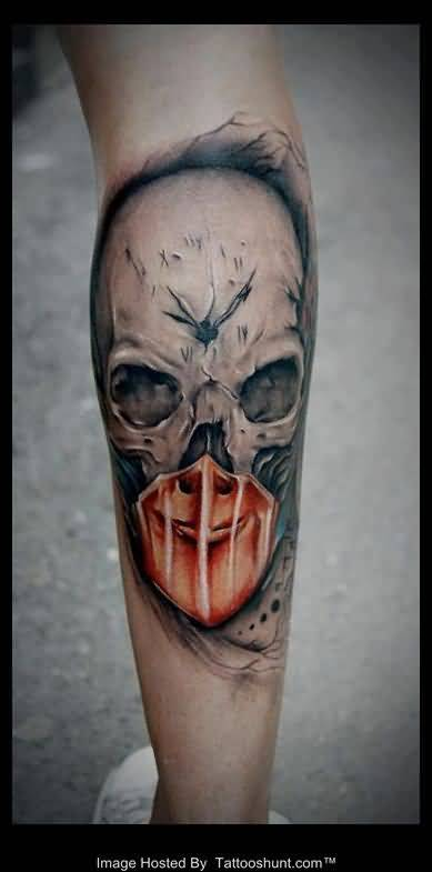Cool gas mask tattoo on ripped skin for Torn skin skull tattoo