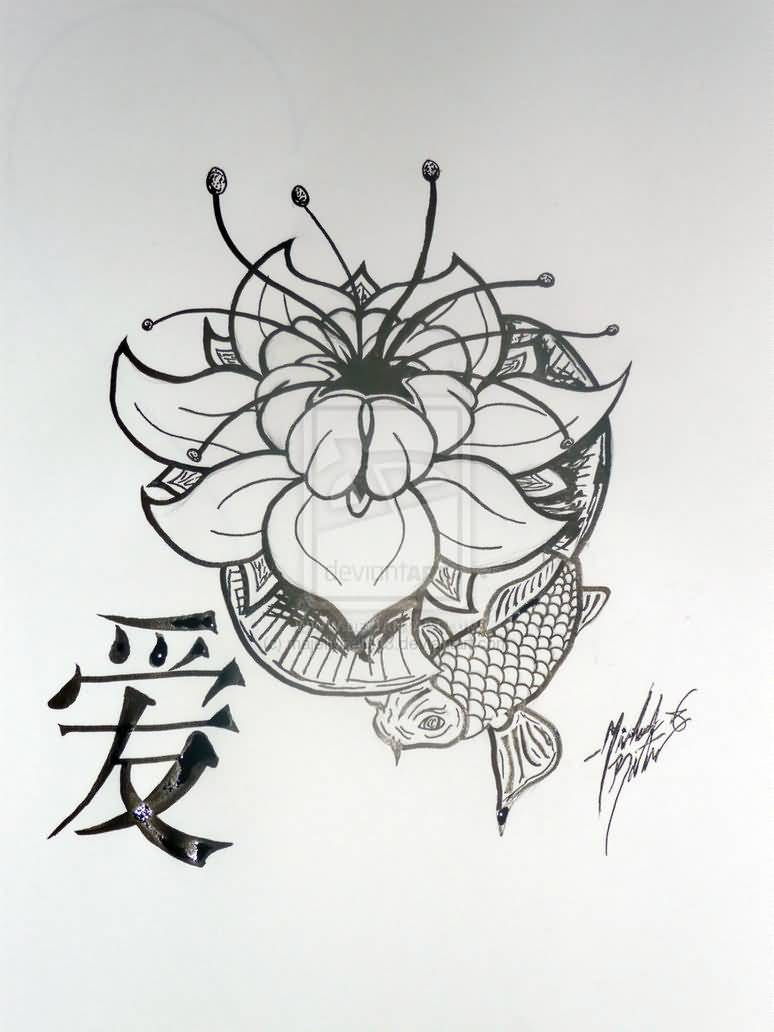 koi fish and lotus tattoo design on paper. Black Bedroom Furniture Sets. Home Design Ideas
