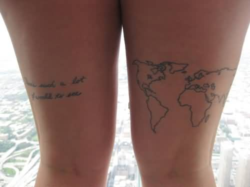 Wonderful tattoo of world map on mens stomach tattooshunter latest world map tattoo on thigh gumiabroncs Images