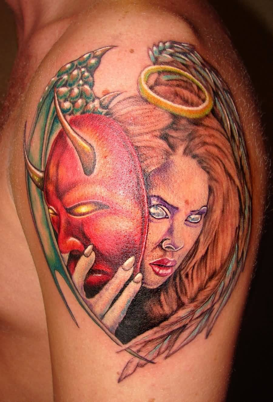 Lovely Lady With Red Hannya Mask Tattoo