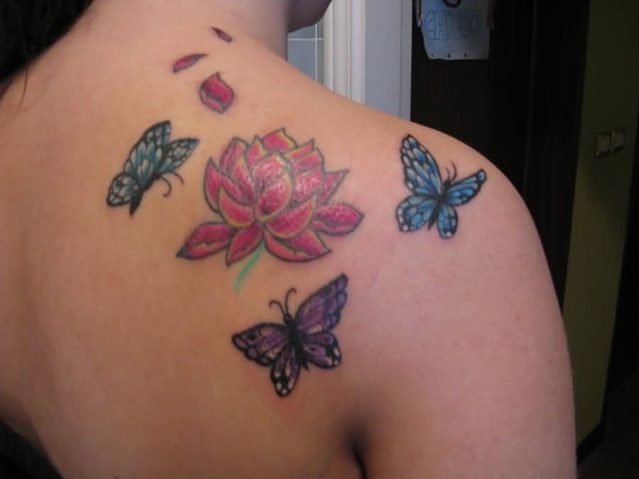 Lovely lotus and butterfly tattoo on back for Lotus flower and butterfly tattoo designs