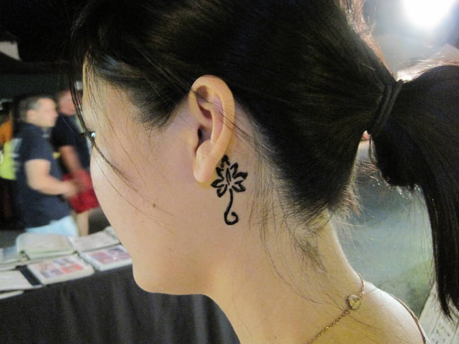 Lovely Lotus Tattoo Behind Ear