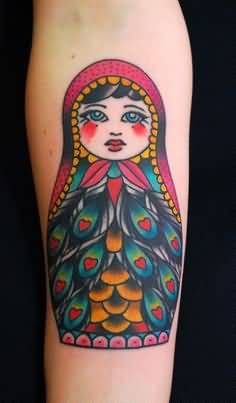 Lovely Tattoo Of Matryoshka Doll
