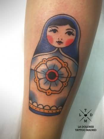 Lovely Tattoo Of Matryoshka On Leg