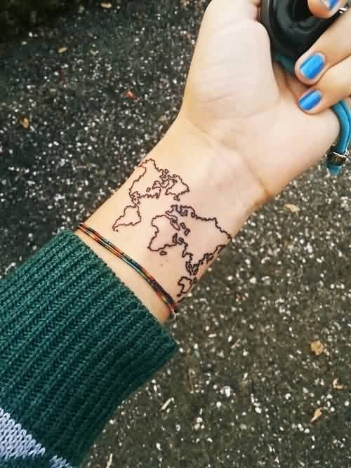 Mind Blowing Tattoo Of Map On Wrist