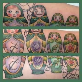 Nice Matryoshka Family Tattoo Art