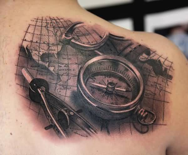 Old Compass And Map Tattoo On Upper Back