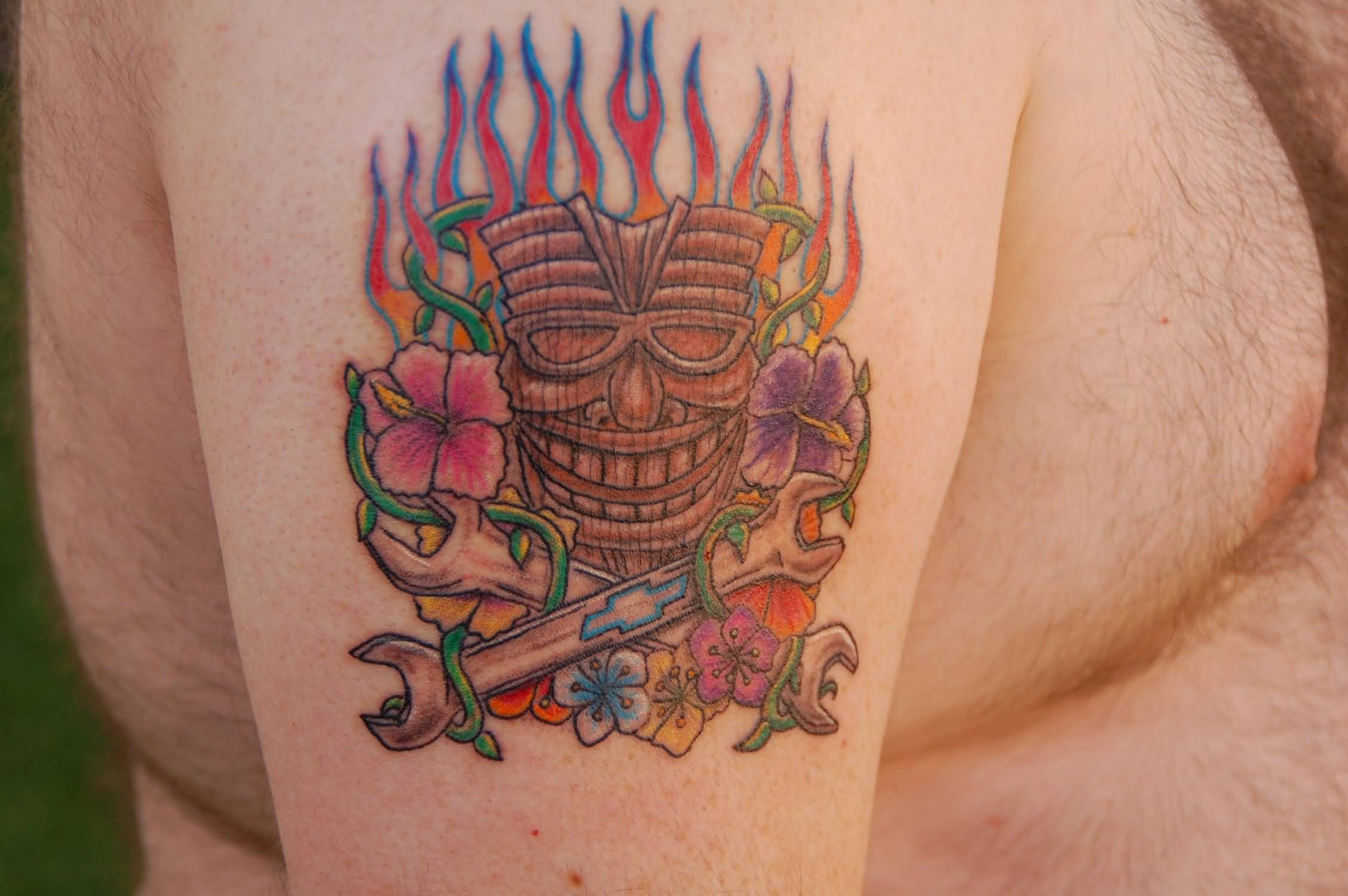 Old Tiki Mask Tattoo For Men
