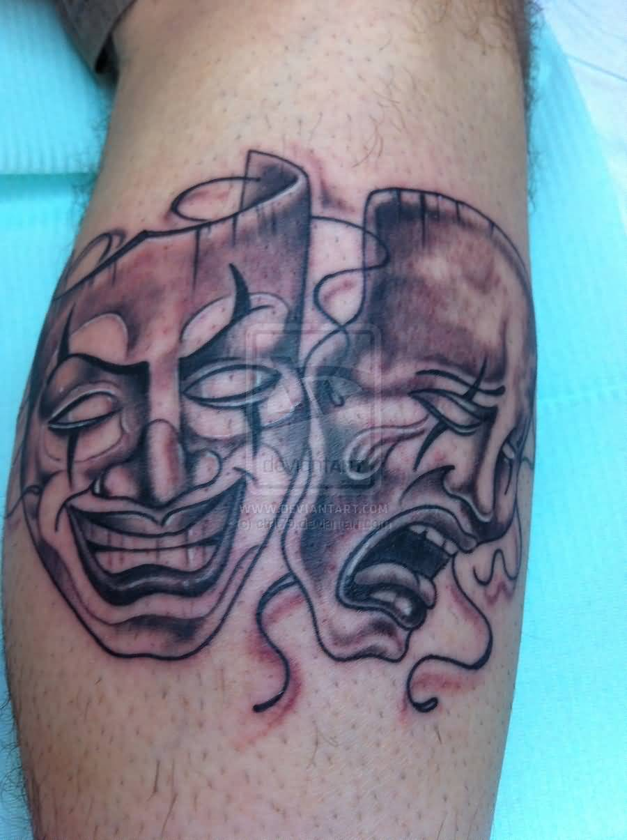 Outstanding Clown Mask Tattoo On Calf
