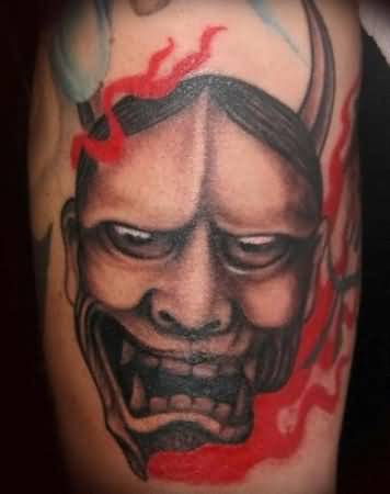 Outstanding Mask Tattoo Of Devil's Face