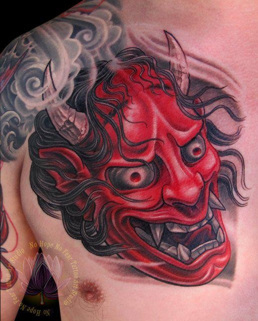 Perfect Oni Mask Tattoo Made With Red Ink