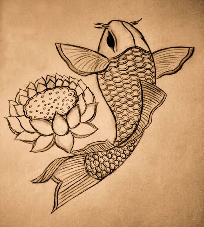 Perfect tattoo outline of lotus for Perfect koi