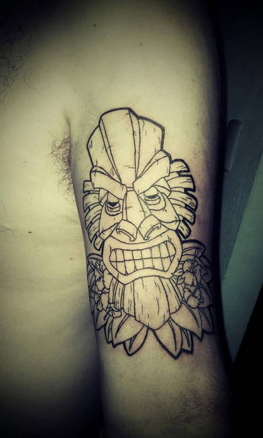 Perfect Outline Tattoo Of Tiki Mask