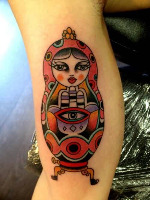 Popular Tattoo Of Matryoshka On Bicep