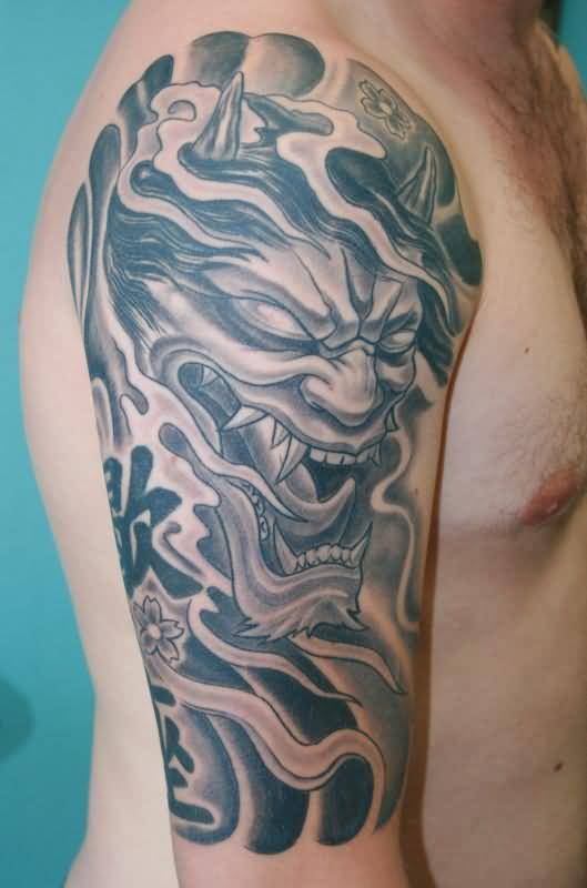 1c4465961 Realistic Oni Mask Tattoo On Shoulder