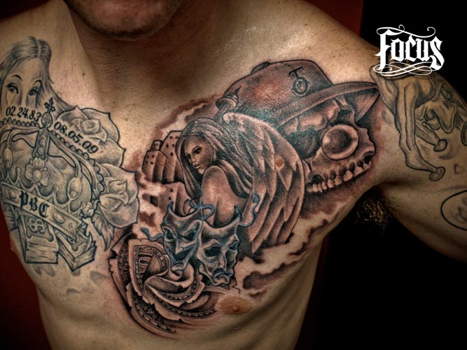 skull and drama mask tattoo on chest. Black Bedroom Furniture Sets. Home Design Ideas
