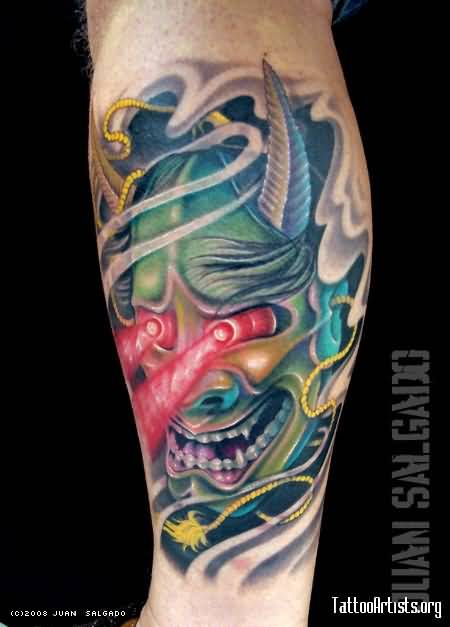 Superb hannya mask tattoo with unique eyes for Hannya mask tattoo