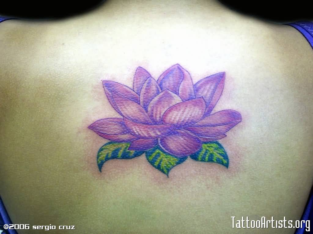 superb purple lotus tattoo on back. Black Bedroom Furniture Sets. Home Design Ideas
