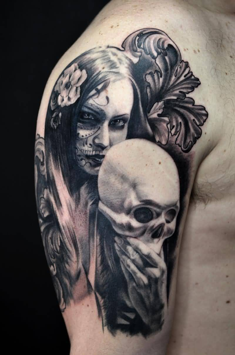 Sweet Girl's Tattoo With Skull Mask
