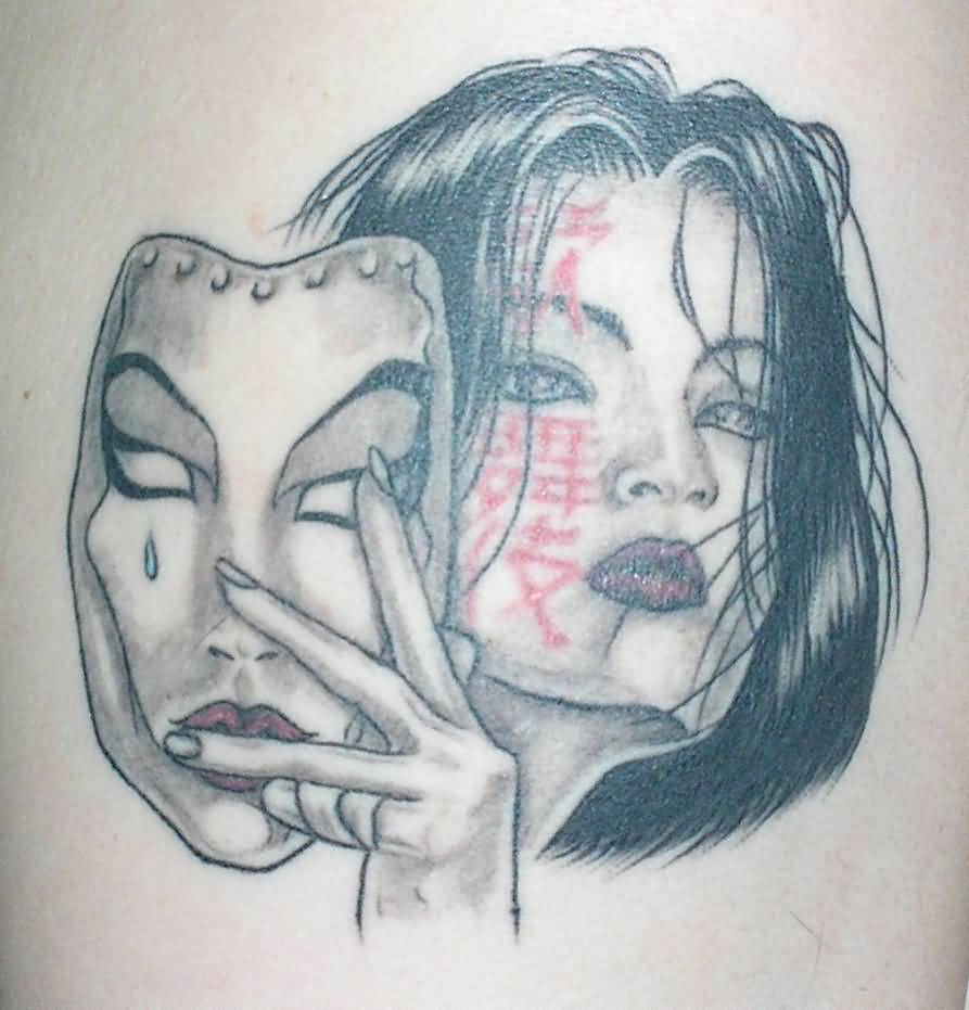 Tattoo Of Charming Girl With Traditional Mask