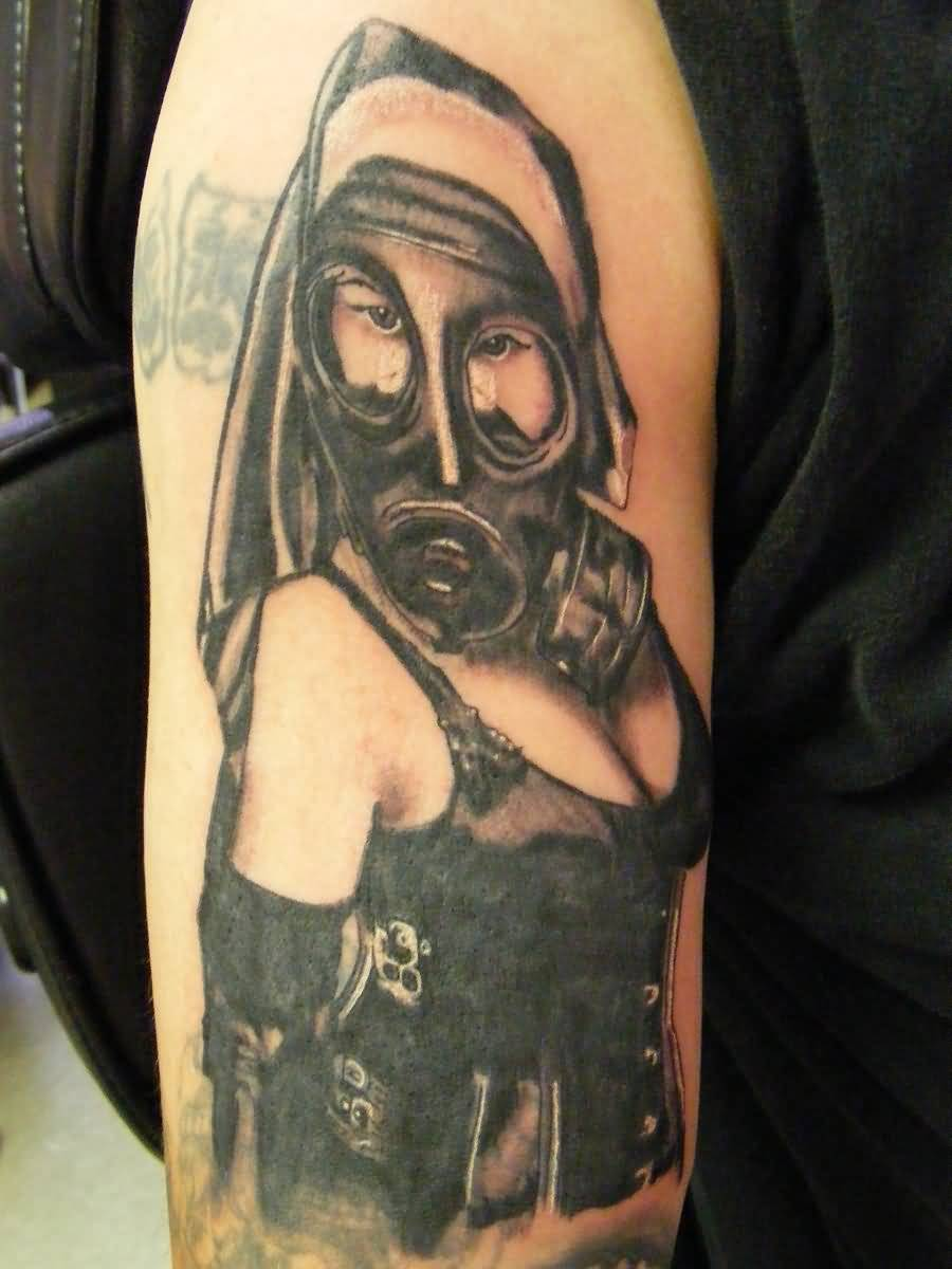 Tattoo Of Lovely Lady With Gas Mask