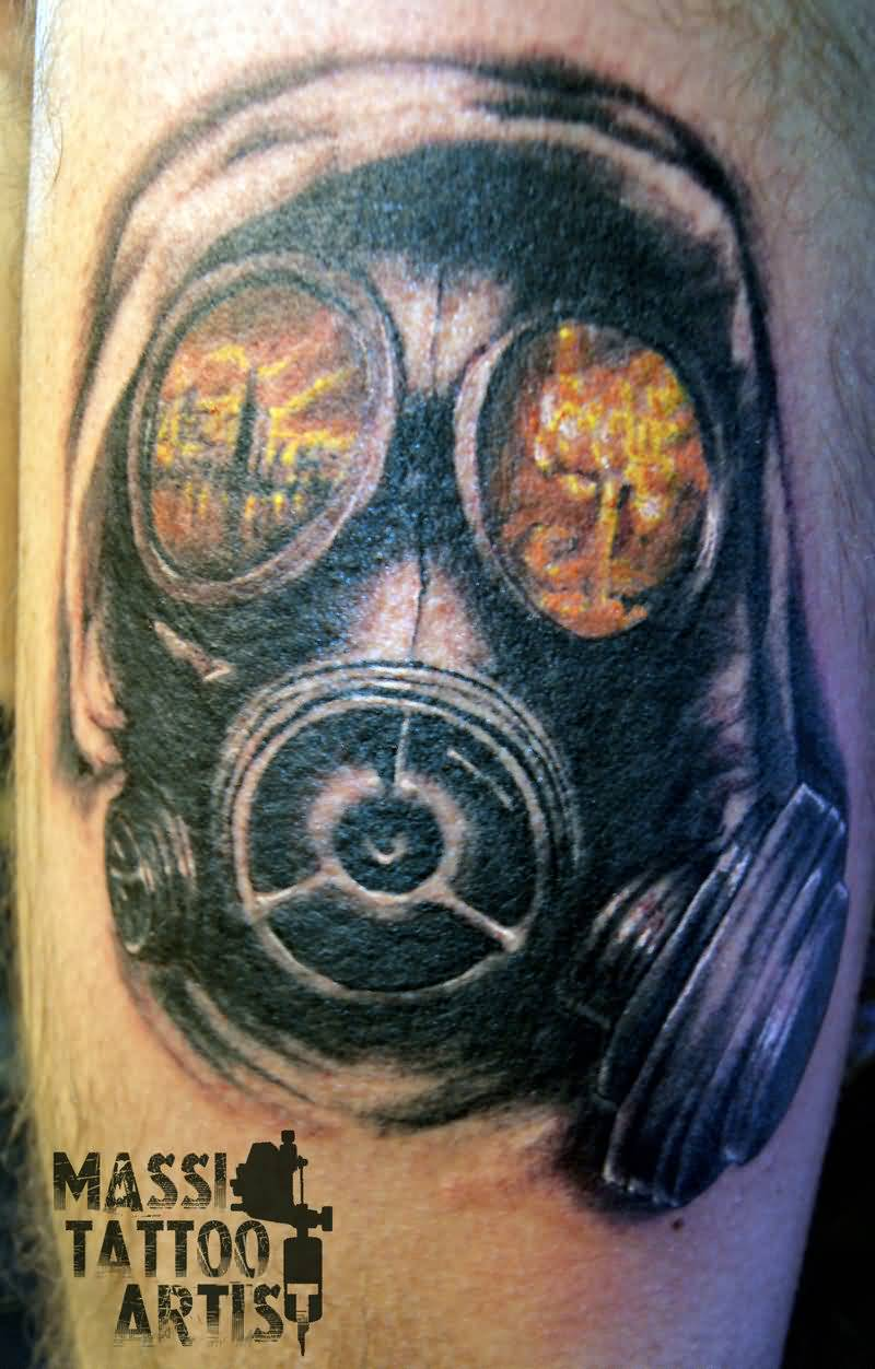 Tattoo Of Men Face With Mask