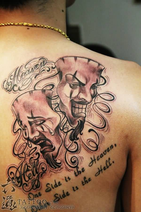cool back cover up with theatre mask tattoo. Black Bedroom Furniture Sets. Home Design Ideas