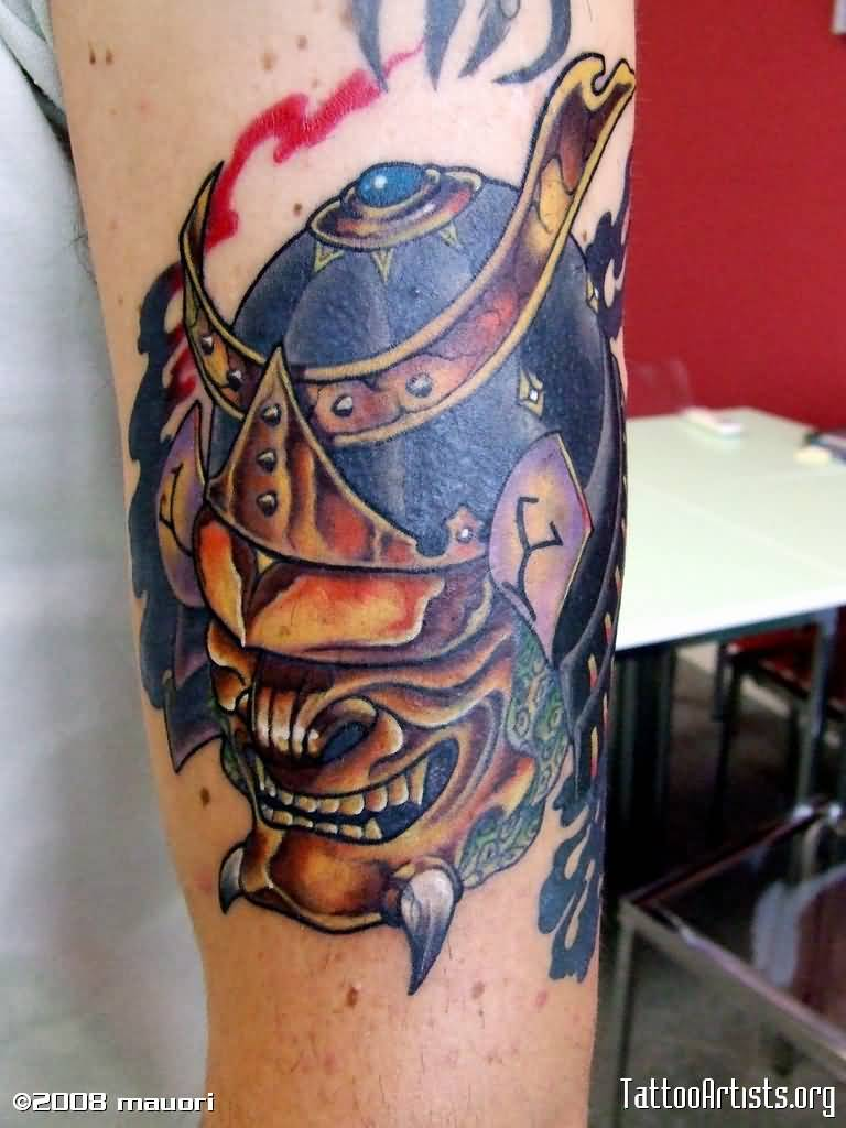 japanese samurai soldier mask tattoo. Black Bedroom Furniture Sets. Home Design Ideas