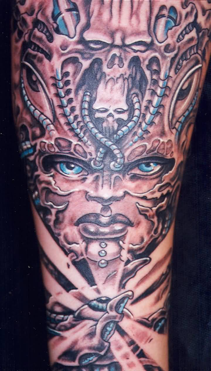 Traditional Mask Tattoo On Arm