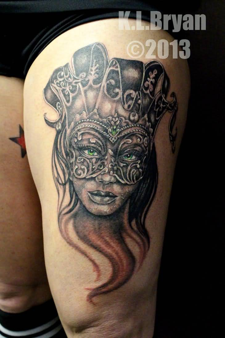 Traditional Party Mask Tattoo