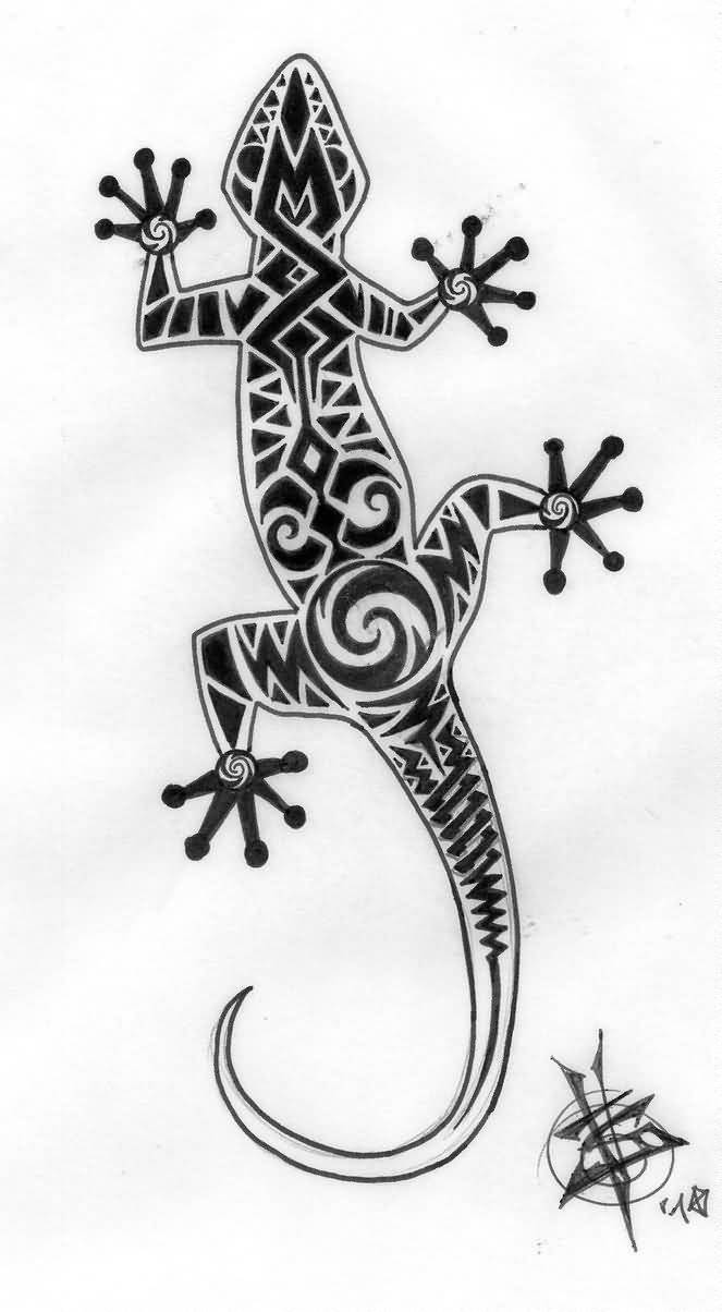 unique maori lizard tattoo design. Black Bedroom Furniture Sets. Home Design Ideas
