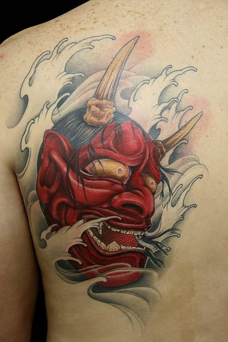 Unique Mask Tattoo Of Hannya Made With Red Ink