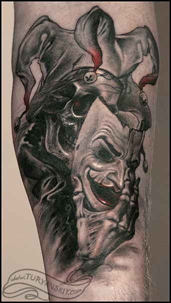 Weird Skull Tattoo With Drama Mask