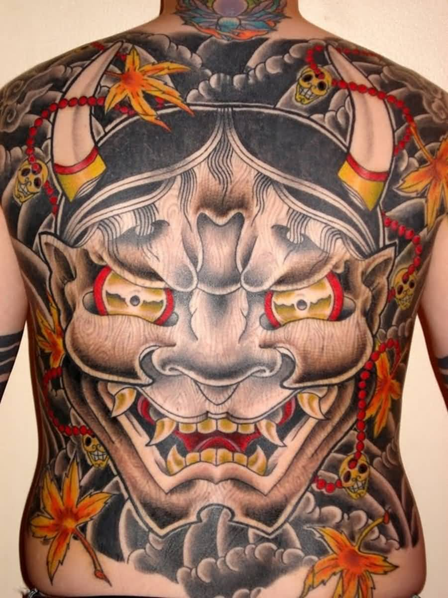 Whole Back Cover Up With Hannya Mask Tattoo