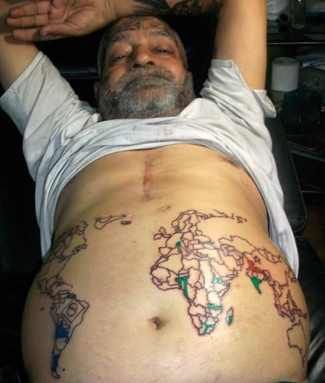 Wonderful tattoo of world map on mens stomach tattooshunter wonderful tattoo of world map on mens stomach gumiabroncs Choice Image