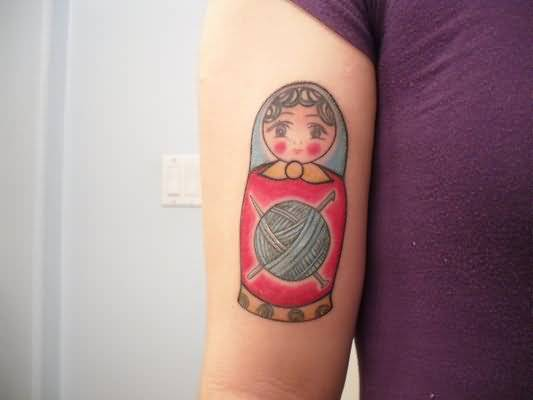 Wool And Matryoshka Doll Tattoo For Girls