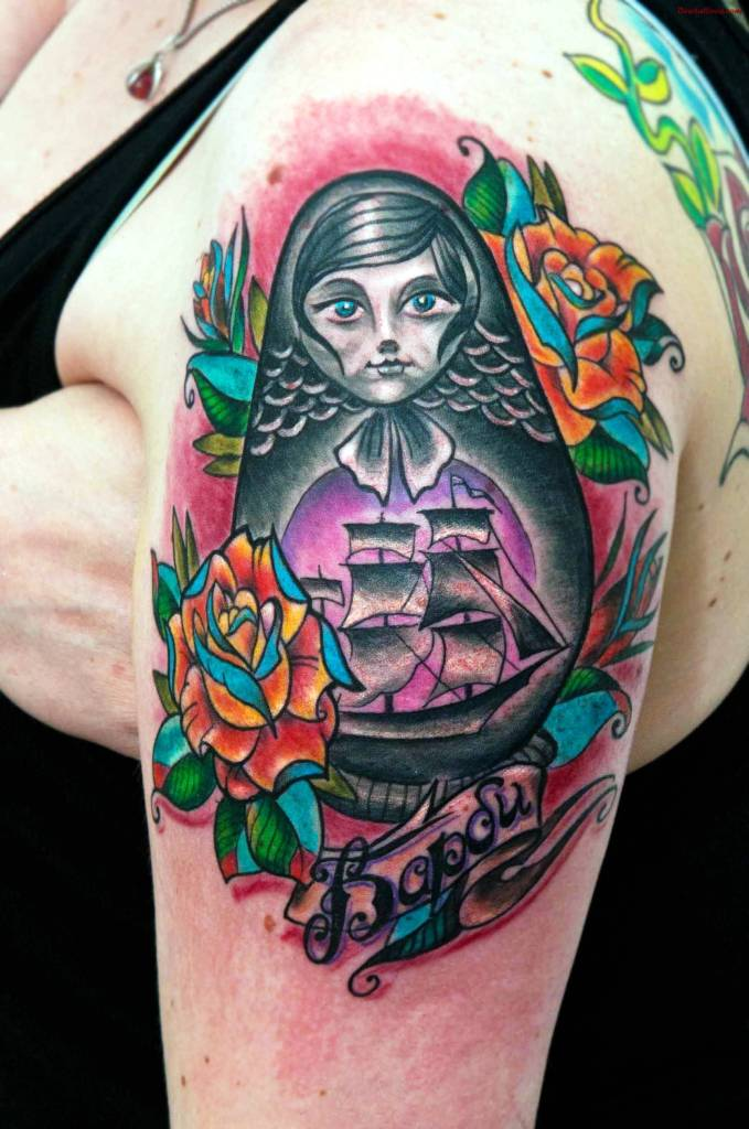 Amazing Colleboration Of Matryoshka Tattoo With Ship