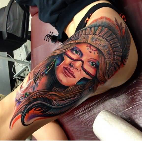 Outstanding Roman Abrego Tattoo Of Native American