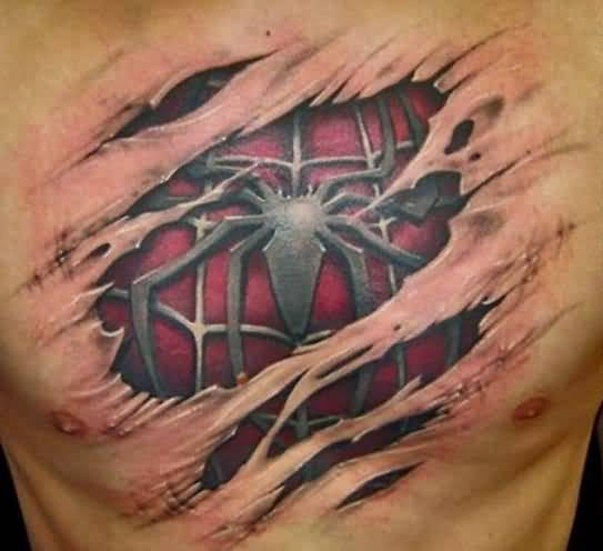 Attractive 3D Spider Tattoo For Men