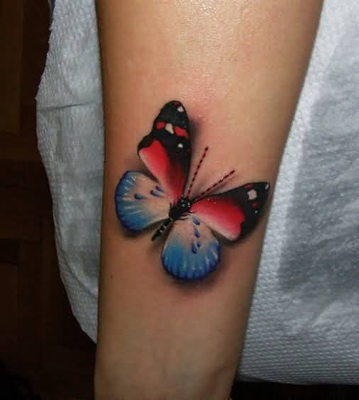 Awesome 3D Butterfly Tattoo For Girl