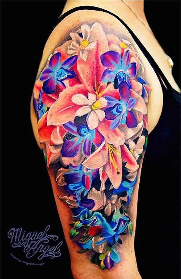 Awesome 3d flower tattoo for women for Women s 3d tattoos