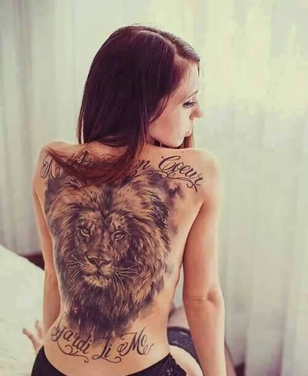 9a5117af3 Awesome African Lion Tattoo For Girl's Back
