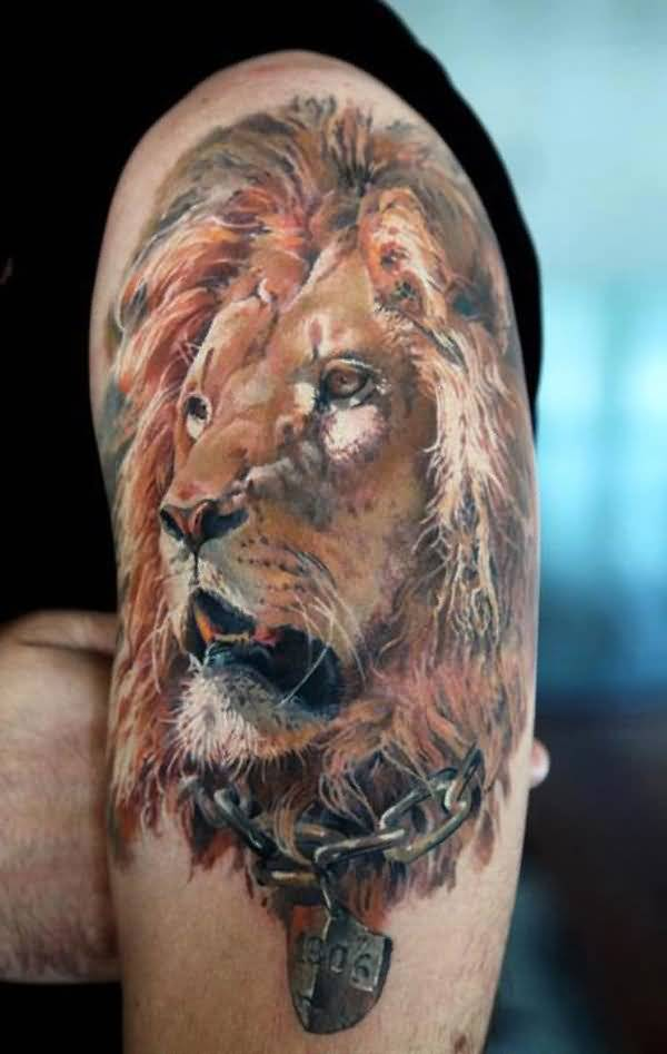 Awesome African Lion Tattoo For Men's Sleeve