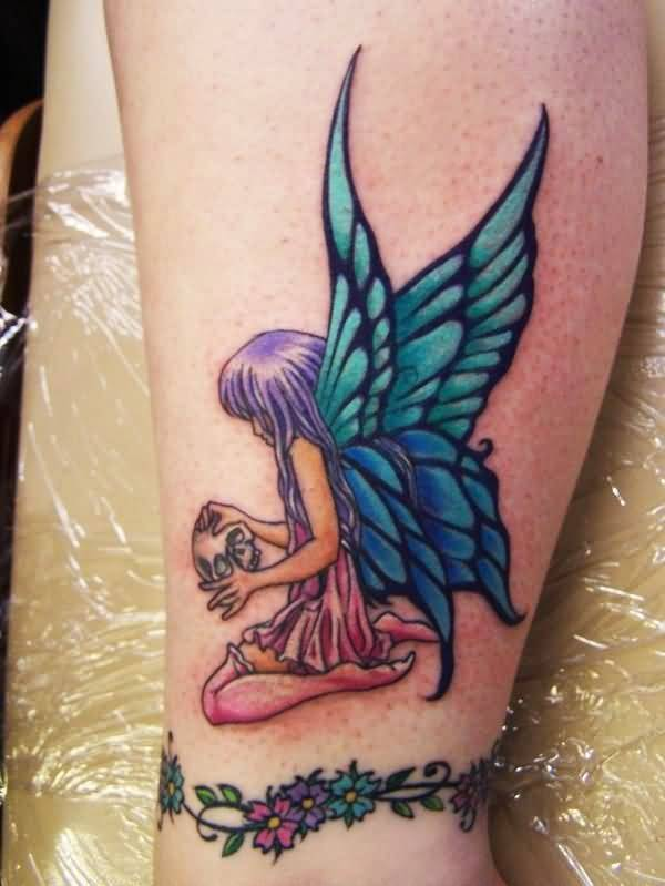 Awesome Angel Butterfly Tattoo On Leg
