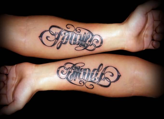 Awesome Family And Friend Ambigram Arm Tattoo For Men