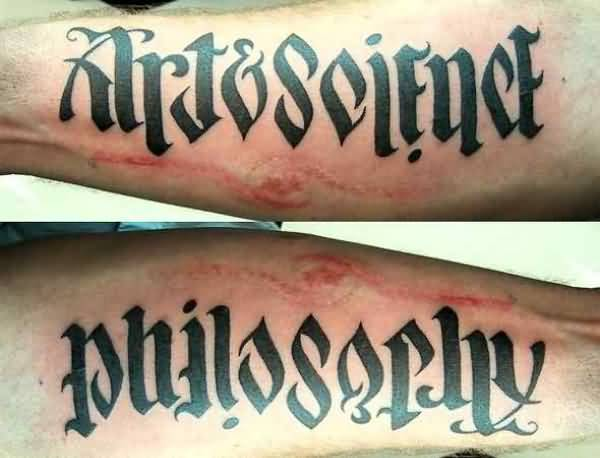 Beautiful Art Science And Philosarhy Arm Tattoo