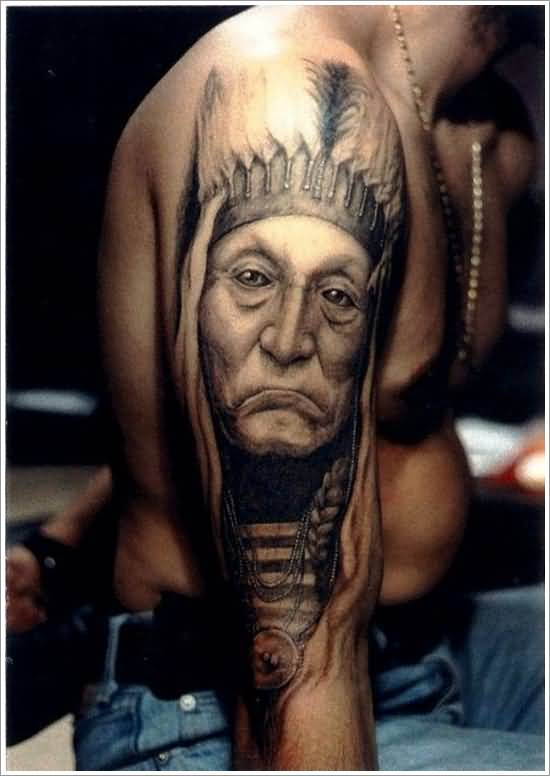 Wonderful Native American Tattoo For Men's Shoulder